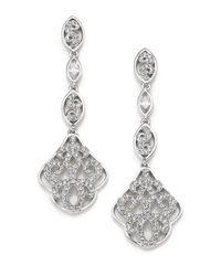 Adriana Orsini | Metallic Garden Gate Pavé Crystal Triple-drop Earrings/silvertone | Lyst