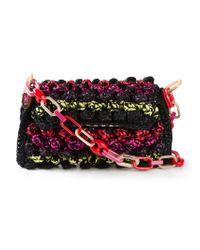 M Missoni - Black Bouclé-Knit Cotton-Blend Shoulder Bag - Lyst