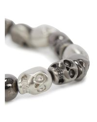Simon Carter - Metallic Gunmetal And Silver Tone Skull Bracelet for Men - Lyst