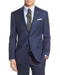 Ted Baker - Blue Trim Fit Check Wool Sport Coat for Men - Lyst