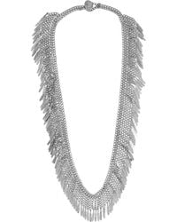 Saint Laurent - Metallic Fringed Silver-plated Necklace - Lyst