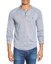 Original Penguin | Blue Long Sleeve Flecked Slub Henley for Men | Lyst