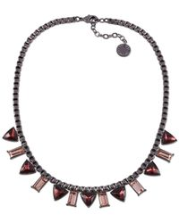 French Connection | Pink Hematite-Tone Triangle And Baguette Stone Frontal Necklace | Lyst