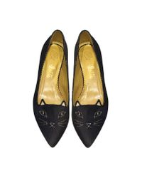 Charlotte Olympia - Gray Mid-century Kitty Night Sky Blue And Amethyst Glitter Pointy Flat - Lyst