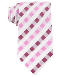 Geoffrey Beene | Pink White Gingham Tie for Men | Lyst