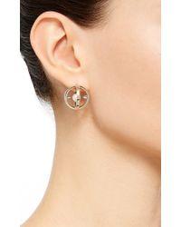 Noor Fares | Metallic Radial Creoles Earrings In White Pearl | Lyst