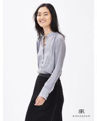 Banana Republic   Gray Br Monogram Silk Tux Shirt   Lyst