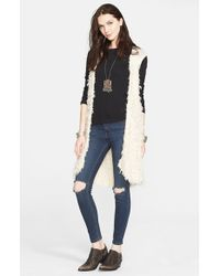 Free People - White Faux Fur Open Vest - Lyst