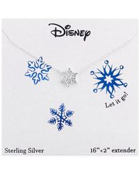Disney | Metallic Frozen Snowflake Pendant Necklace In Sterling Silver | Lyst