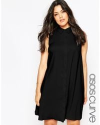 ASOS - Black Sleeveless Shirt Dress - Lyst
