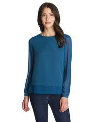 1.STATE - Blue Sheer Panel Blouse - Lyst