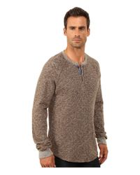 Lucky Brand - Brown Long Sleeve Heathered Henley for Men - Lyst