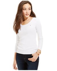 Tommy Hilfiger | White Solid Long-sleeve Tee | Lyst