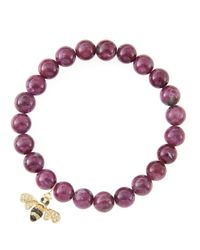 Sydney Evan | Purple 8Mm Natural Ruby Beaded Bracelet With 14K Gold/Diamond Small Bee Charm (Made To Order) | Lyst
