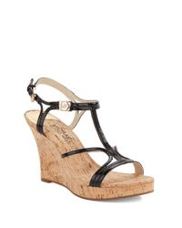 MICHAEL Michael Kors | Black Cicely Cork Wedges | Lyst