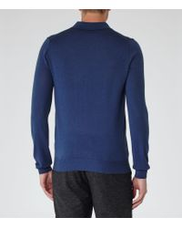 Reiss - Blue Mansion Merino Wool Polo Shirt for Men - Lyst