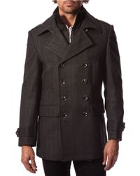 7 Diamonds | Gray Glasgow Wool-blend Peacoat for Men | Lyst