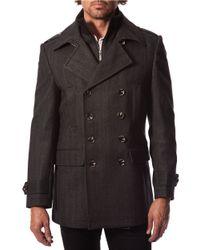 7 Diamonds - Gray Glasgow Wool-blend Peacoat for Men - Lyst