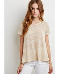 Forever 21 - Natural Crochet-paneled Loose Knit Top - Lyst
