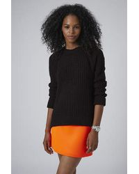 TOPSHOP - Black Textured Fisherman Jumper - Lyst