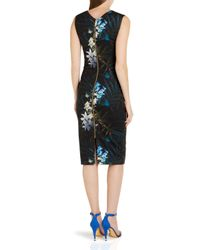 Ted Baker - Black Loua Floral Sheath Dress - Lyst