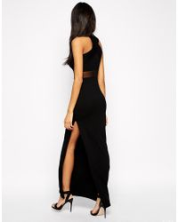 ASOS - Black Cross Front Halter Mesh Maxi Dress - Lyst
