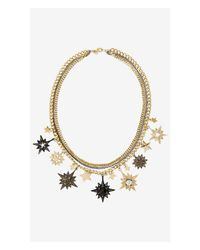 Express - Metallic Mixed Star Cluster Necklace - Lyst