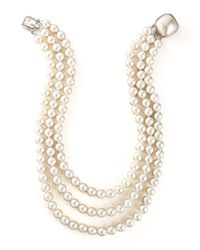 Majorica | White Three-strand Pearl Necklace | Lyst