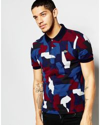 Lacoste L!ive | Blue Polo Shirt With Camo Print Slim Fit for Men | Lyst