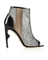 Jerome C. Rousseau - Black Notte Patent Leather-Trimmed Net Ankle Boots - Lyst