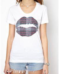 Markus Lupfer - White Tshirt with Check Lip Print - Lyst