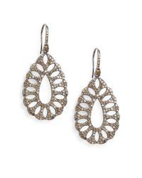 Bavna | Metallic 3.86 Tcw Pavé Champagne Diamond & Sterling Silver Cutout Teardrop Earrings | Lyst