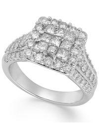 Macy's - Metallic Diamond Halo Ring In 14k White Gold (2 Ct. T.w.) - Lyst