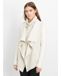 Vince | White Wool Blend Drape Neck Jacket With Leather Sleeves | Lyst