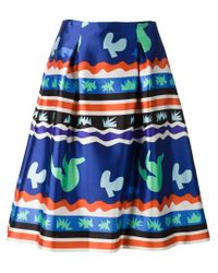 Novis - Blue Digital Print A-line Skirt - Lyst