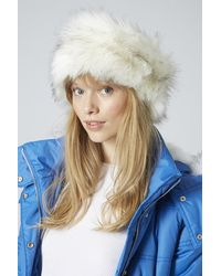 TOPSHOP - White Sno Faux Fur Headband - Lyst