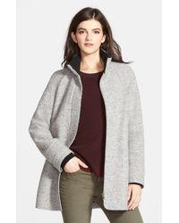 Halogen - Gray Zip Front Stand Collar Coat - Lyst