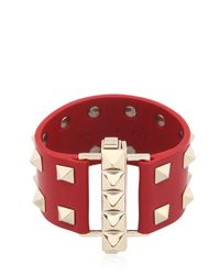 Valentino - Metallic Studded Leather Cuff Bracelet - Lyst