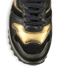 Alexander McQueen - Metallic Leather & Suede Trainer Sneakers for Men - Lyst