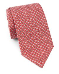 Ferragamo - Red Mini Elephant Silk Tie for Men - Lyst