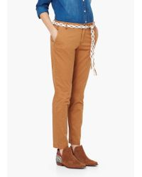 Mango | Brown Straight Cotton Trousers | Lyst