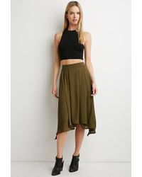 Love 21 - Green Contemporary Pleated Asymmetrical Skirt - Lyst