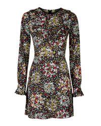 TOPSHOP - Black Ditsy Doll Dress - Lyst