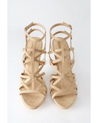 Forever 21 | Natural Cutout Faux Suede Sandals | Lyst