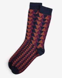 Ted Baker - Blue Triangle Pattern Organic Cotton Socks for Men - Lyst