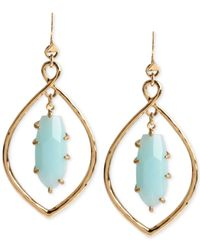 Robert Lee Morris | Blue Gold-tone Faceted Bead Teardrop Orbital Earrings | Lyst