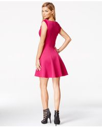 Guess - Pink V-neck Fit & Flare Dress - Lyst