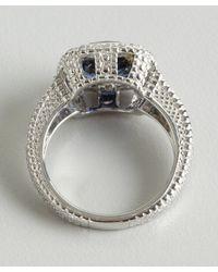 Judith Ripka - Metallic Blue Corundum And White Sapphire 'Cushion' Ring - Lyst