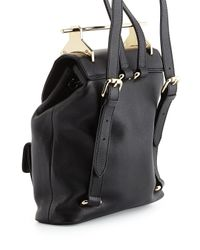 M2malletier - Black Grained Leather Drawstring Backpack - Lyst
