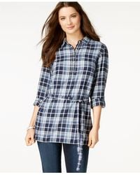 Tommy Hilfiger | Blue Plaid Belted Tunic | Lyst